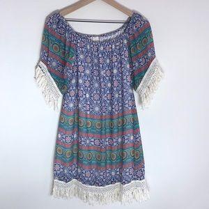 Boho Print Fringe Trim Mini Dress Size Large